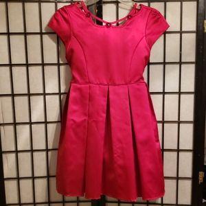 Girl's Red Satin SZ16 Dress with Velvet Flowers